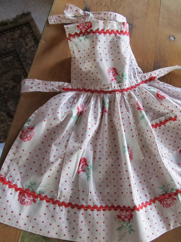 Rare Vintage infantil completa Avental-Bolinhas e repolho Rosas