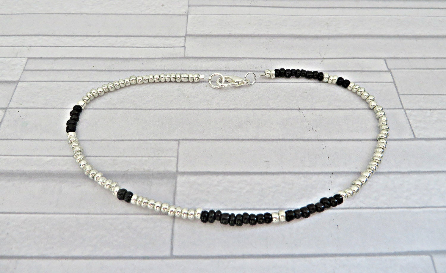 Silver bead anklet Black bead anklet Silver  black bead anklet Silver bead ankle bracelet Silver seed bead anklet Seed bead anklet