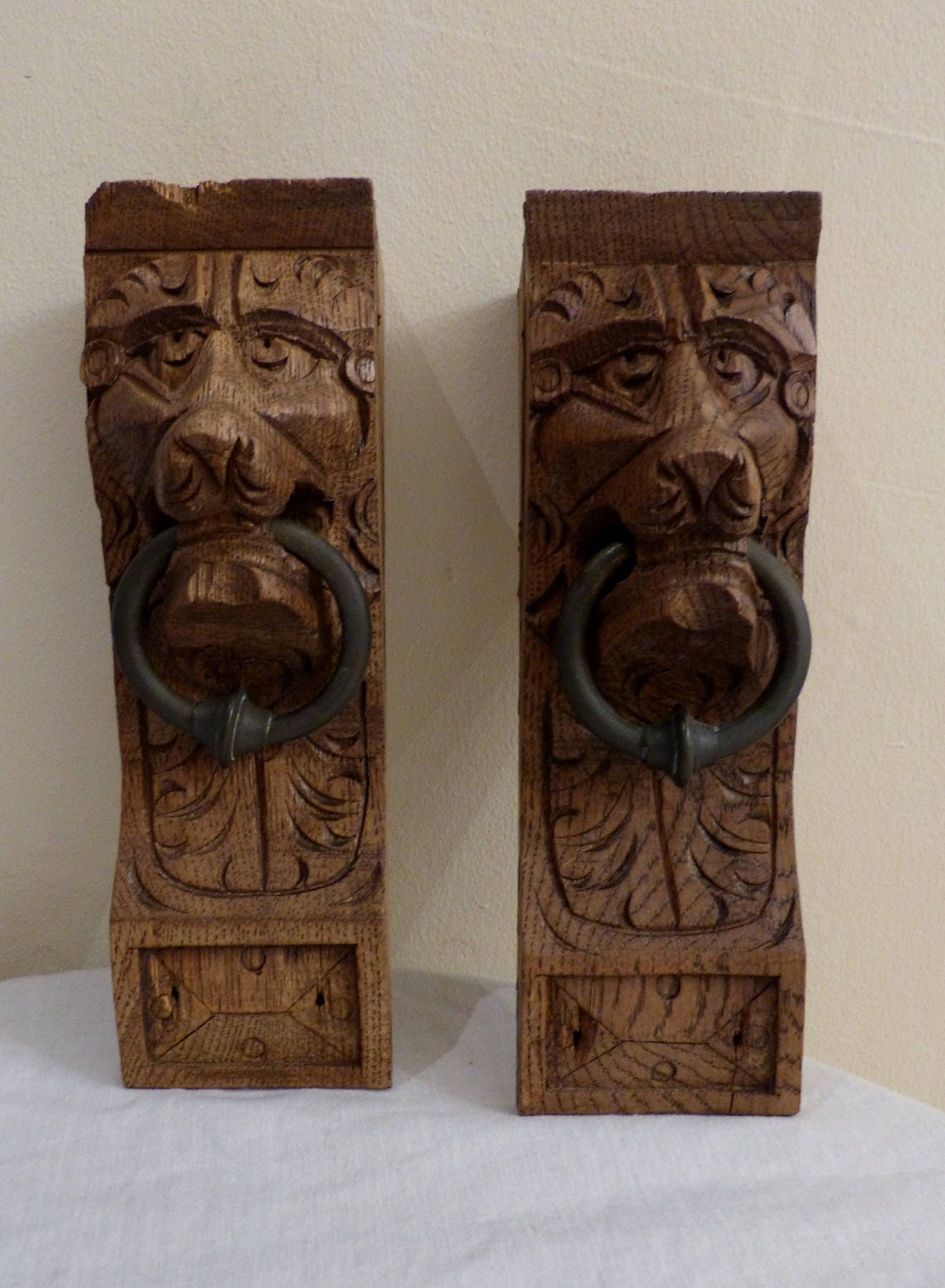 2 x Antique Belgian Gothic Carved Oak Lions Heads with Brass Ring WoodFurniture Trim
