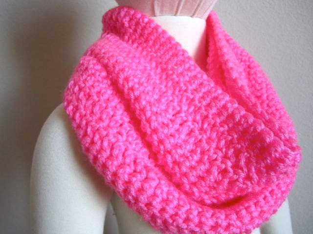 Neon pink crochet infinity scarf