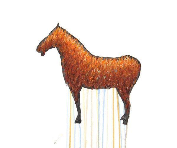 Terracotta Horse Drawing - 8 by 10 orange historical horse art - print of pastel painting - johnfinkler