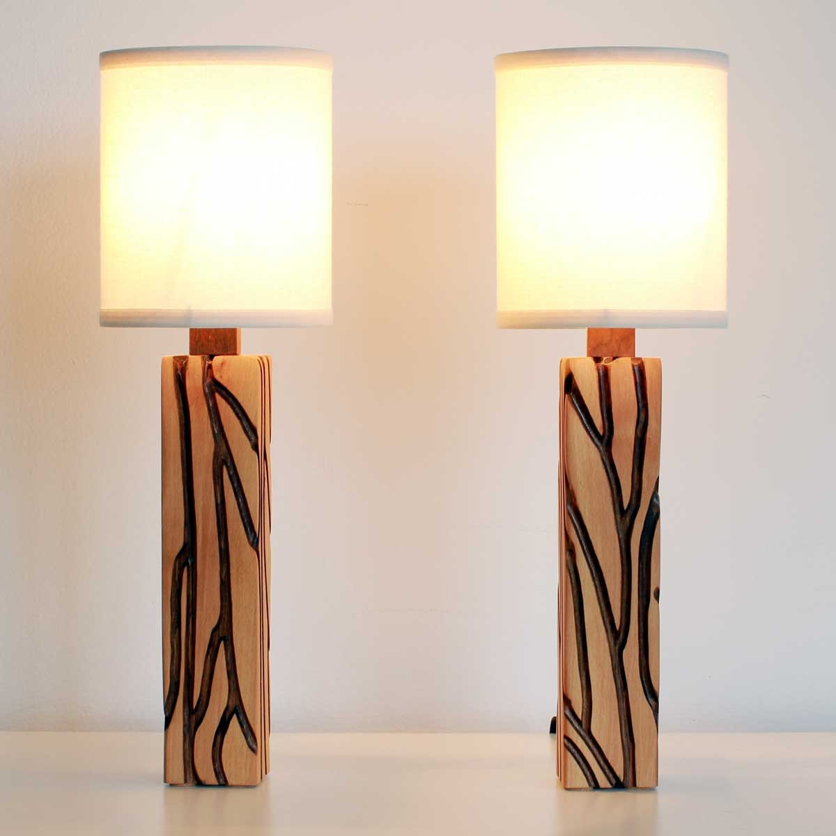 nightstand lamps pair les lignes night by stephanehubertdesign. Black Bedroom Furniture Sets. Home Design Ideas