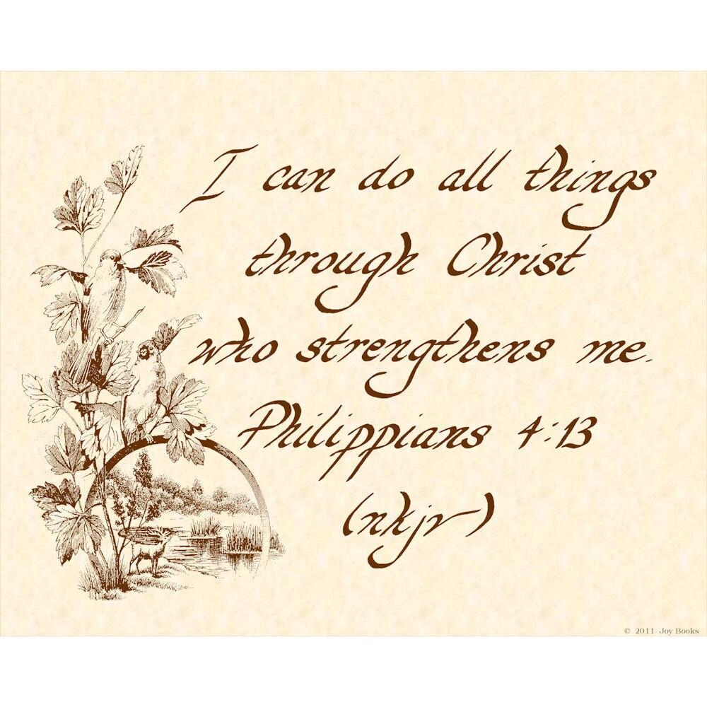 Philippians 4 13 8 X 10 Calligraphy Art Print By Vintageverses