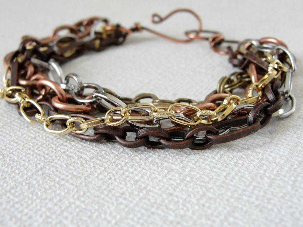 Mixed Metal Bracelet: Copper Brass Multi Strand Chains Artisan Clasp