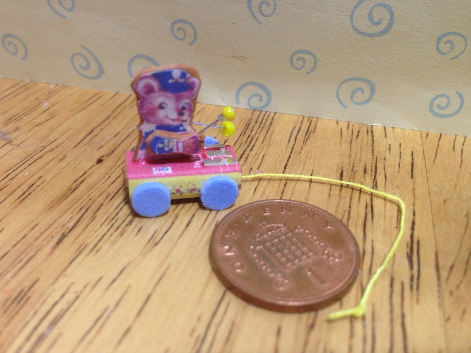 Hand made Dolls house Miniature replica vintage fisher price pull along teddy xylophone 112 scale