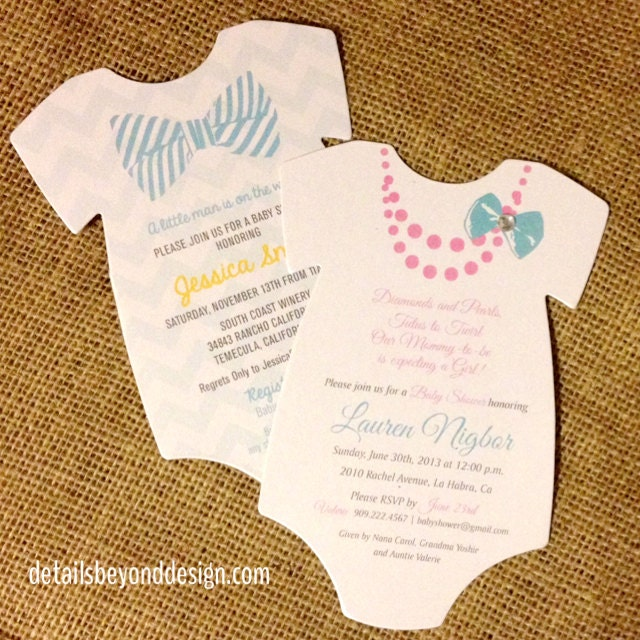 onesie die cut baby shower invitation choice of girl or boy bow