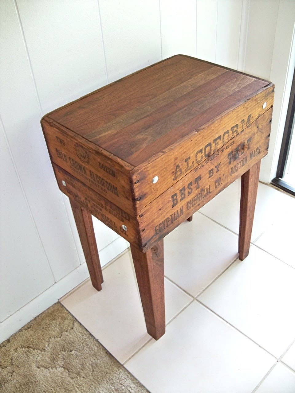 Embalming fluid shipping crate table walnut legs by