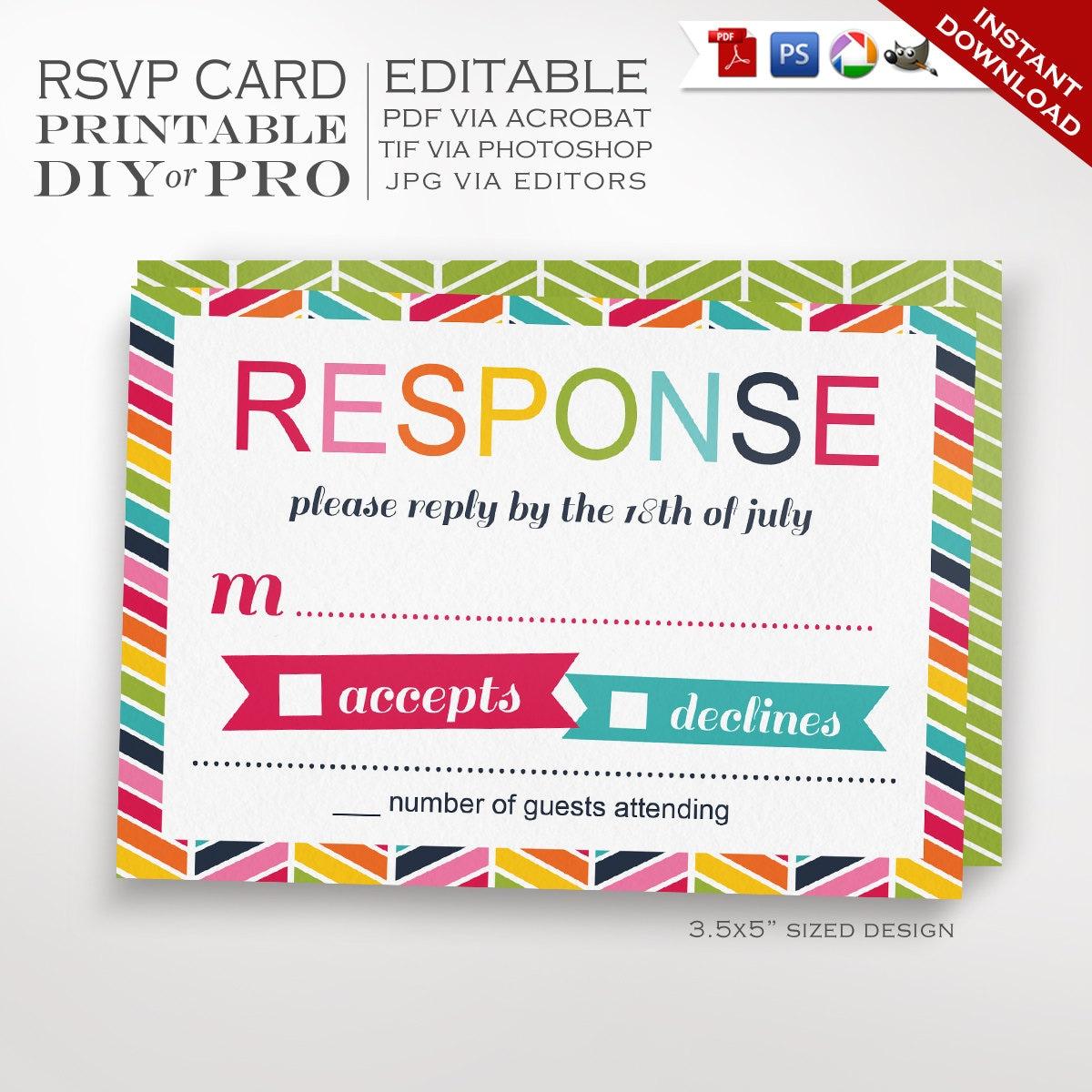 RSVP Wedding Template  Rainbow Wedding Response Card  Printable DIY Rainbow Chevron Wedding Editable Custom RSVP Bright Wedding Stationery