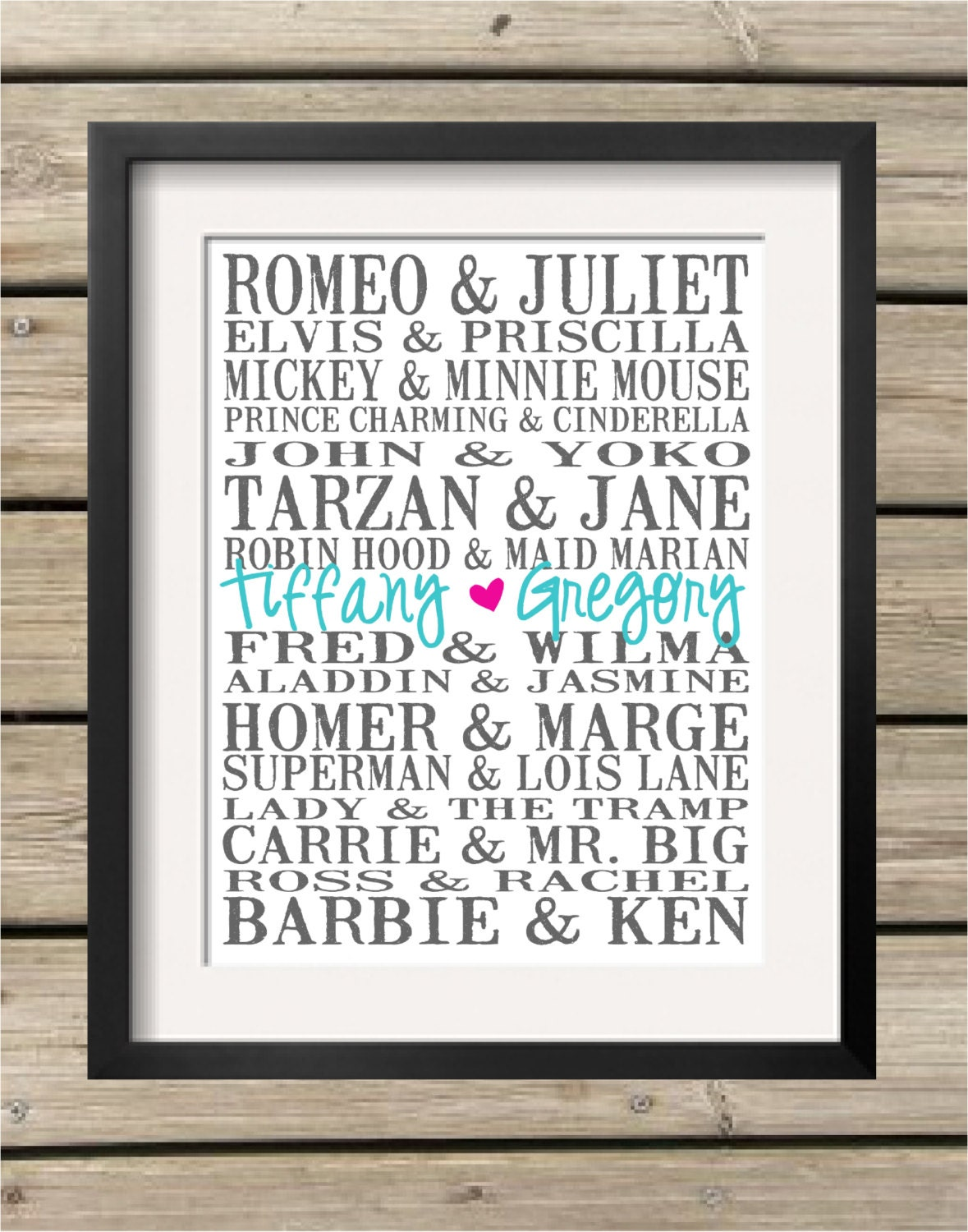 Personalized Subway Art Print Famous Couples By