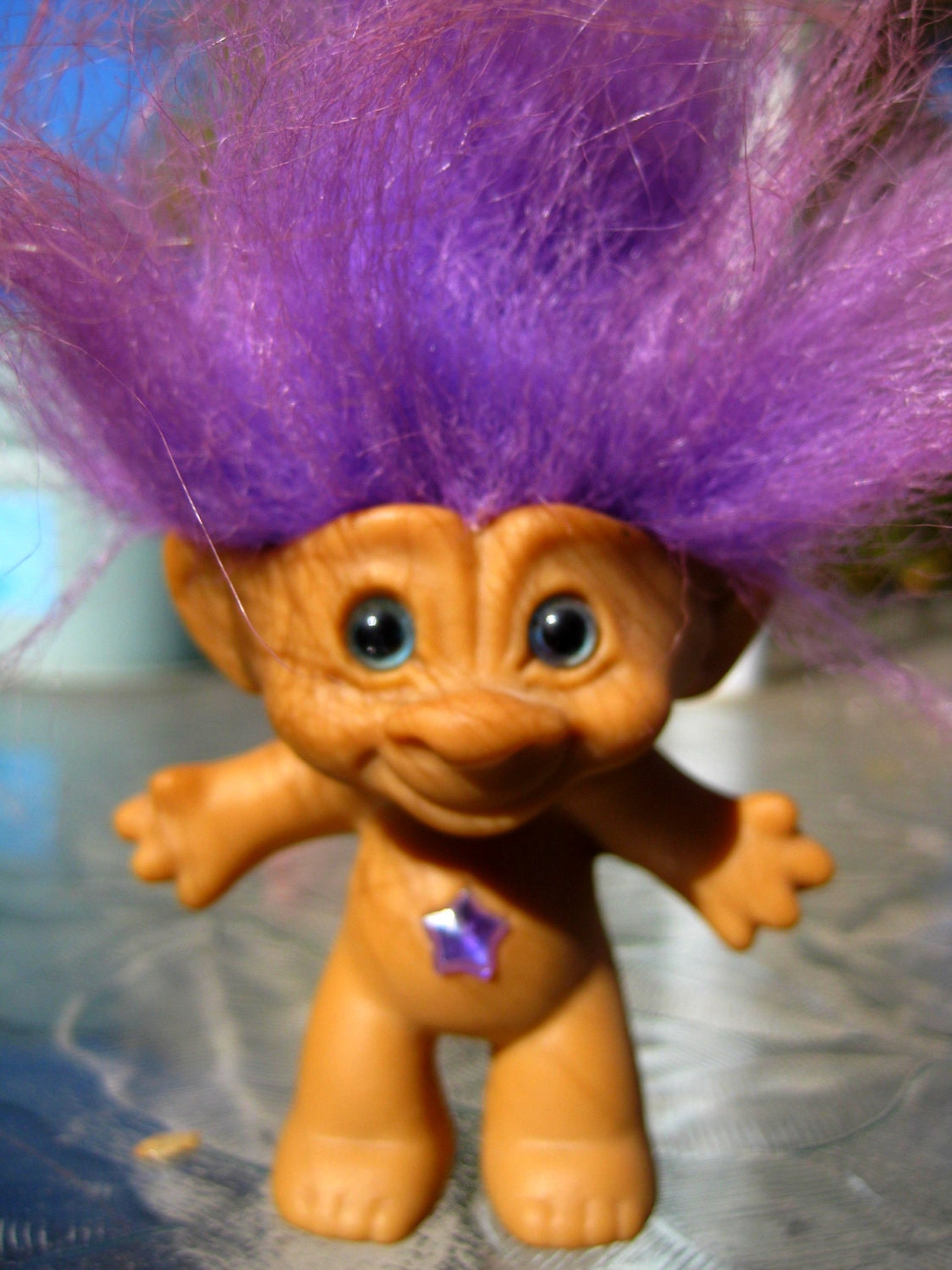 Purple Good Luck Troll Vintage Toy Doll By Dragonflybynight