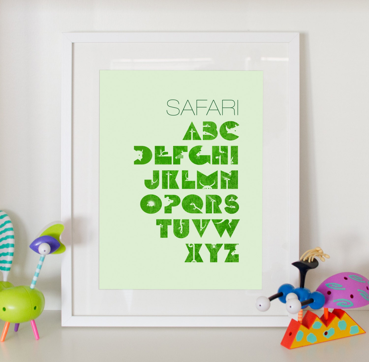 Alphabet Print Safari Home Decor Nursery Animals By