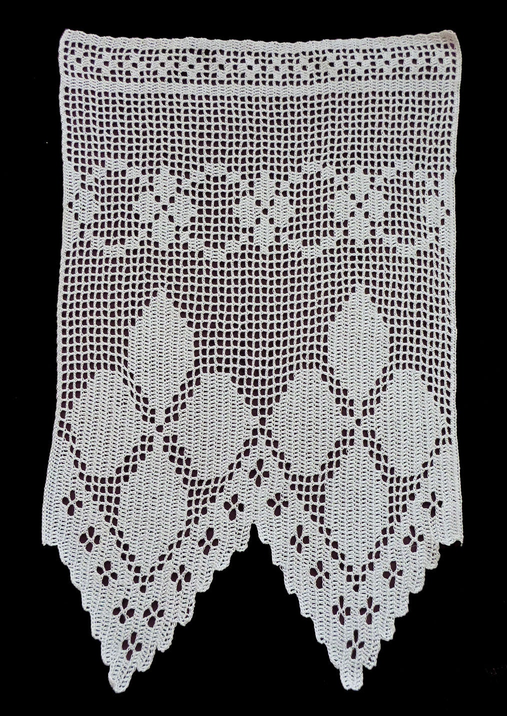 Crochet Curtain Patterns : White cotton Crocheted Window curtain floral pattern by Retroom
