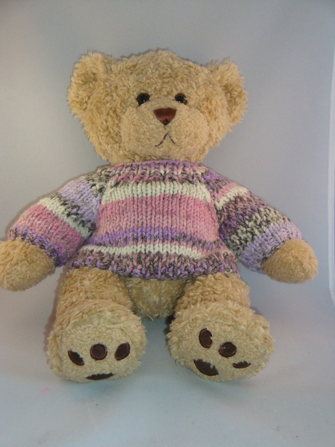 Knitting Pattern For Teddy Bear Sweater : Chunky Teddy Bear Sweater Hand knitted Fair Isle by ...