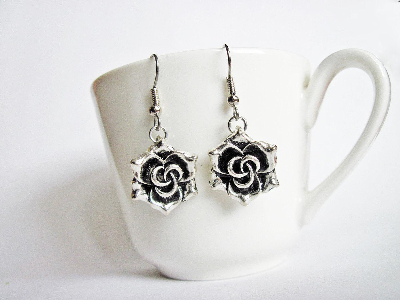 Items similar to Rose silver earrings Dangle metal flower earrings Floral j