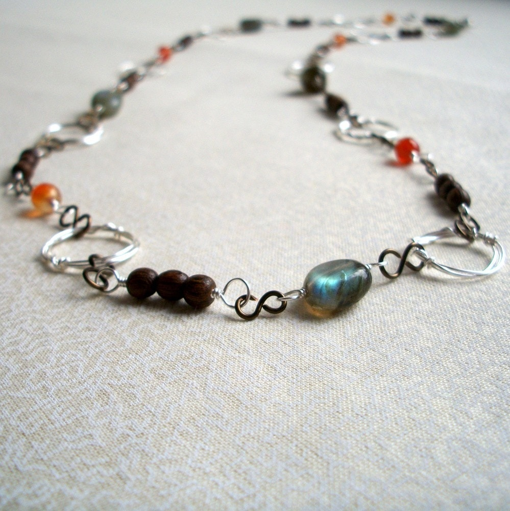 Gray & Orange Endless Loop Necklace Set- Cold Sunset - MeadowlandDesigns