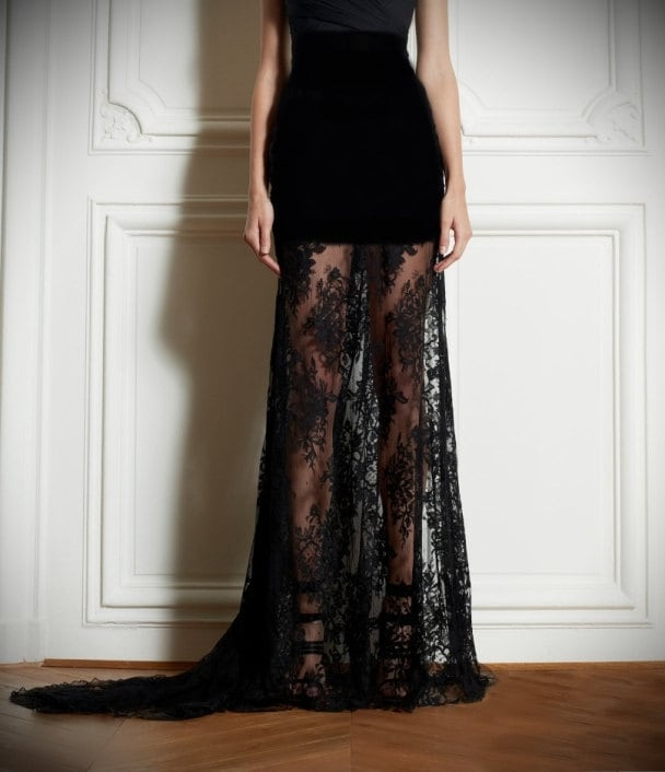 floor length crepe and lace high waist skirt slightly by