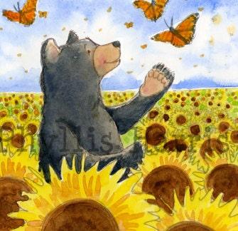 Wall Art Print - Bears and Butterflies - room art decor - PhyllisHarrisDesigns