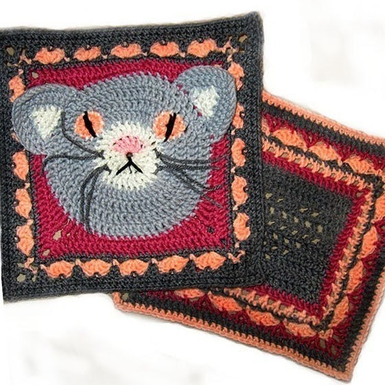 Cat Heart Granny Square Crochet PATTERNs 2 by FlowersandMore