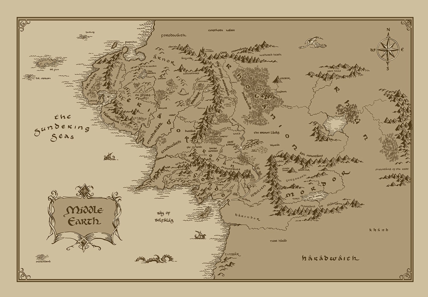 X Large Middle Earth Map Cotton Fabric Lord Of The Rings The