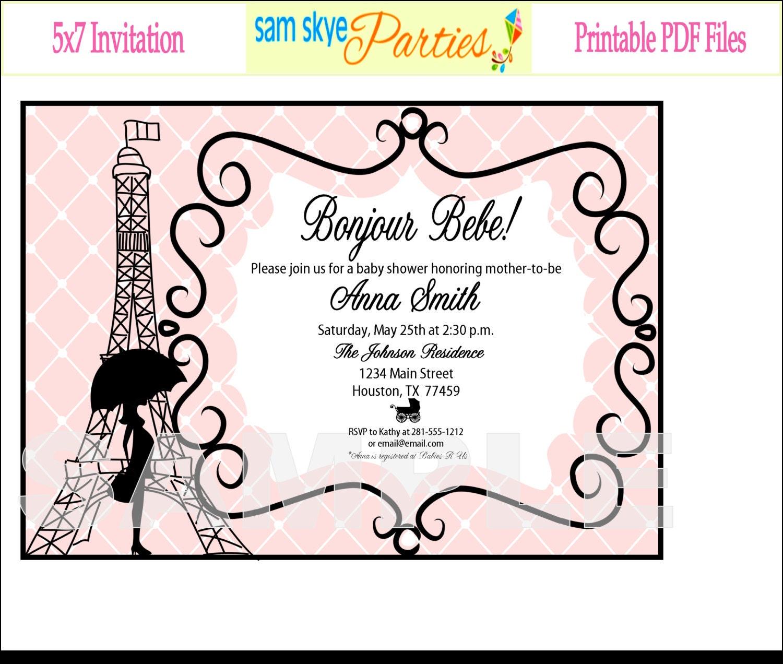 paris baby shower invitation printable file by samskyeparties