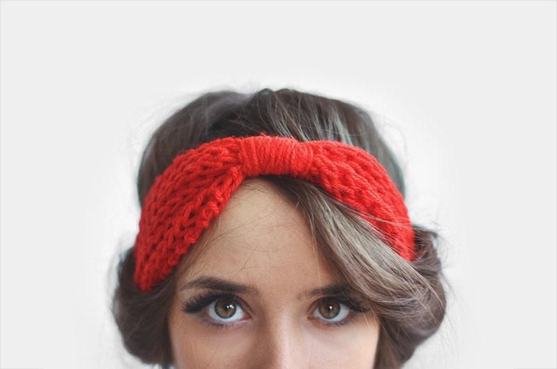 Red headband, ear warmer / Hand Knitted - Plexida
