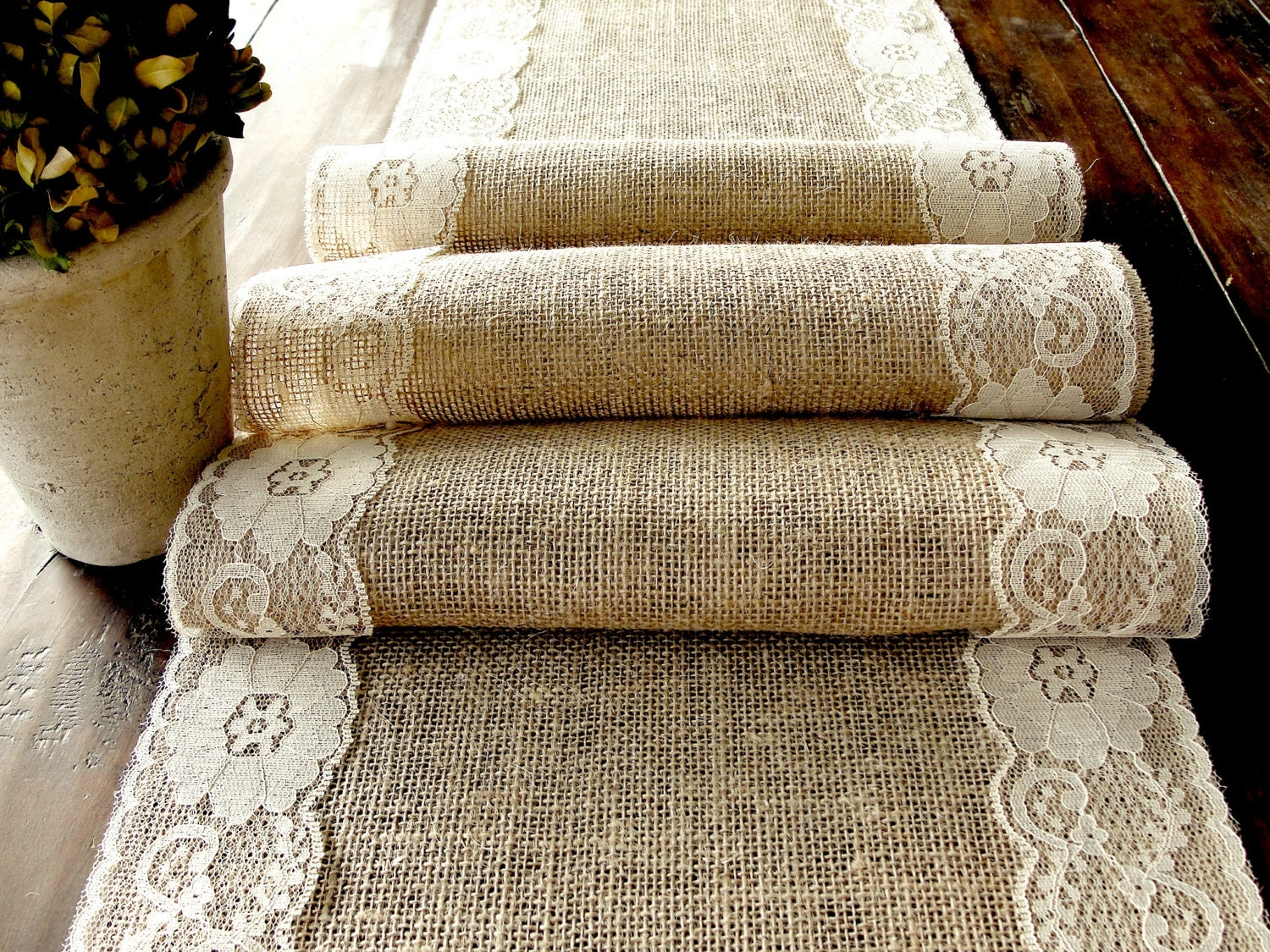Wedding table runner burlap table runner with country cream lace rustic chic , handmade in the USA - HotCocoaDesign