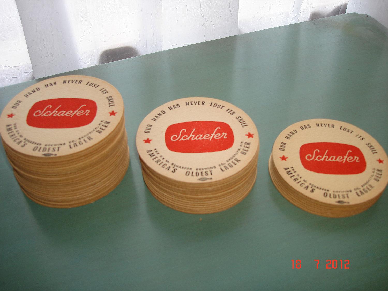 Vintage cardboard coasters schaefer beer large by tessesattic - Cardboard beer coasters ...