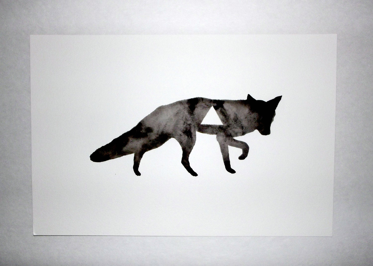 Geometric Fox - Original Watercolor - GeometricInk