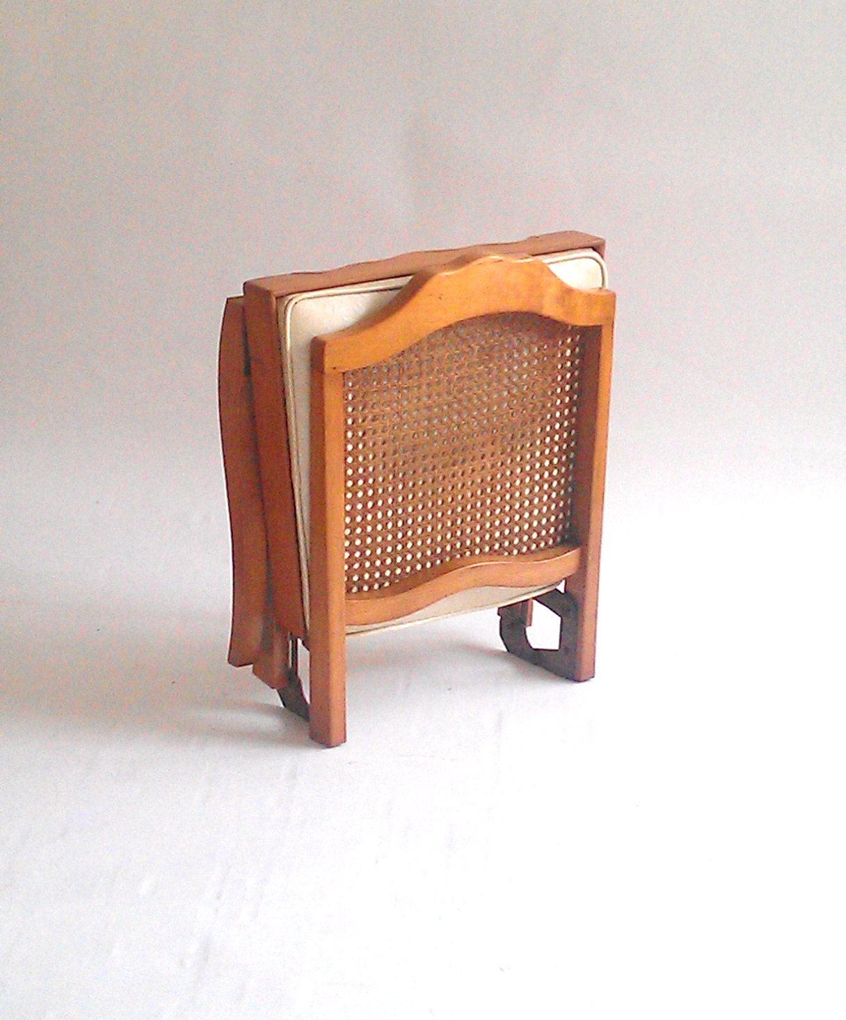 Leg o matic folding chair caned back by timandkimshow on etsy