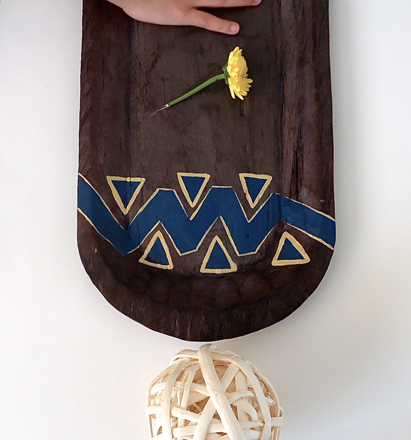 Tribal Inspired Wood Tray. Rustic Home Decor. - EcoYagual