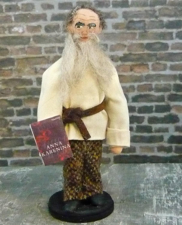 Leo Tolstoy Doll Miniature Russian Author Wooden Art Figure
