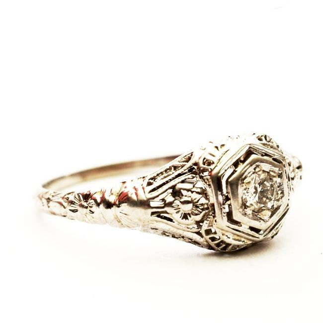 Vintage Filigree Diamond Engagement Ring White Gold by Spoonier