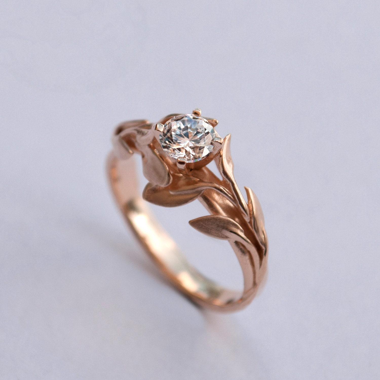 Leaves Engagement Ring No. 4 - 14K Rose Gold and Diamond engagement ring, engagement ring, leaf ring, filigree, antique, art nouveau,vintage