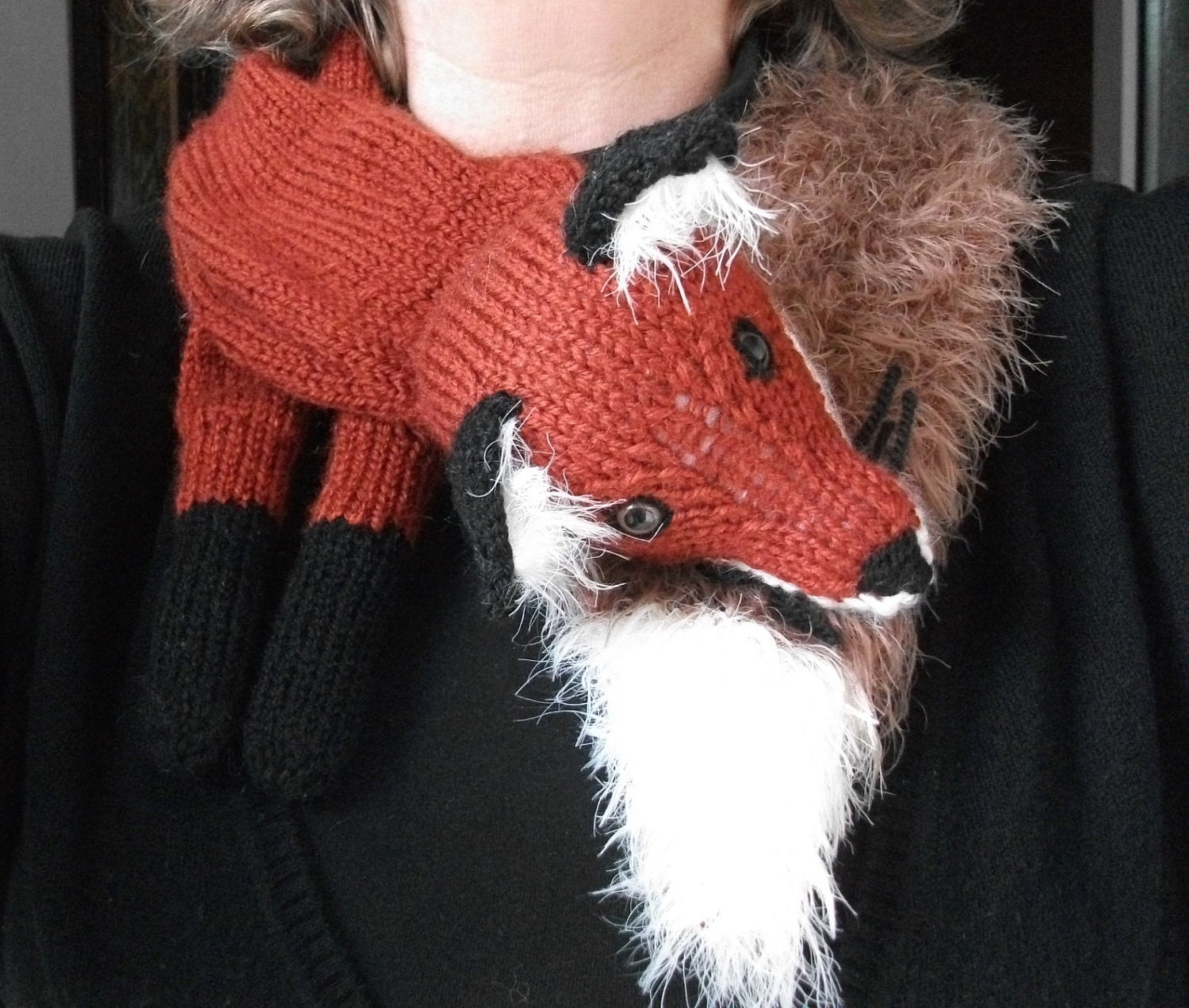Knitting Pattern for a Fox Stole by PrettyFlamingo on Etsy