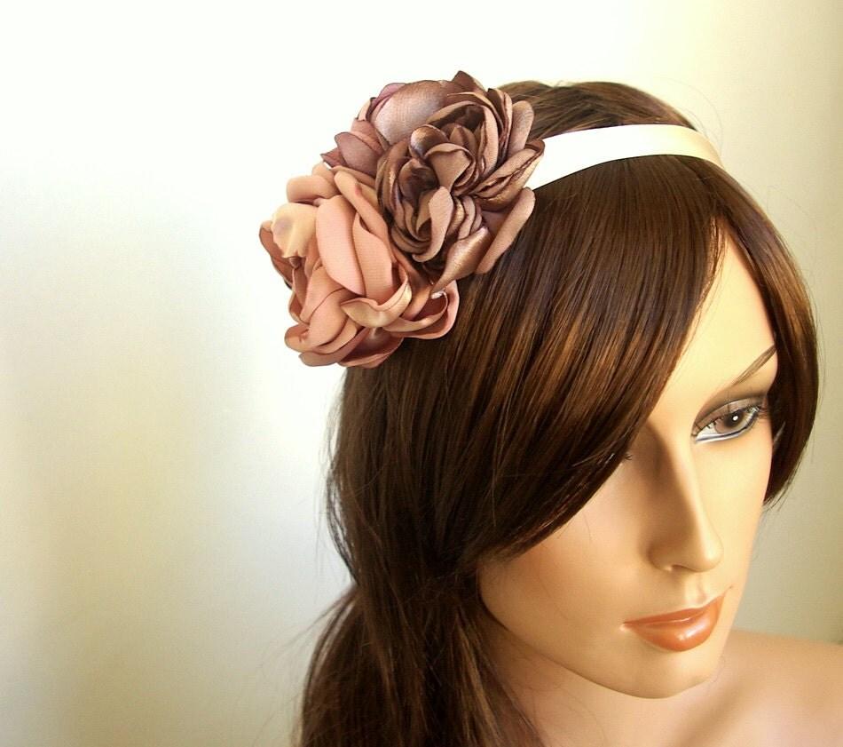 Wedding Hair Band, Wedding Hair Ribbon, Dusty Pink Rose Wedding Headpiece, Vintage Inspired Wedding Headband, Romantic Wedding Accessories - NiaPersonBridal