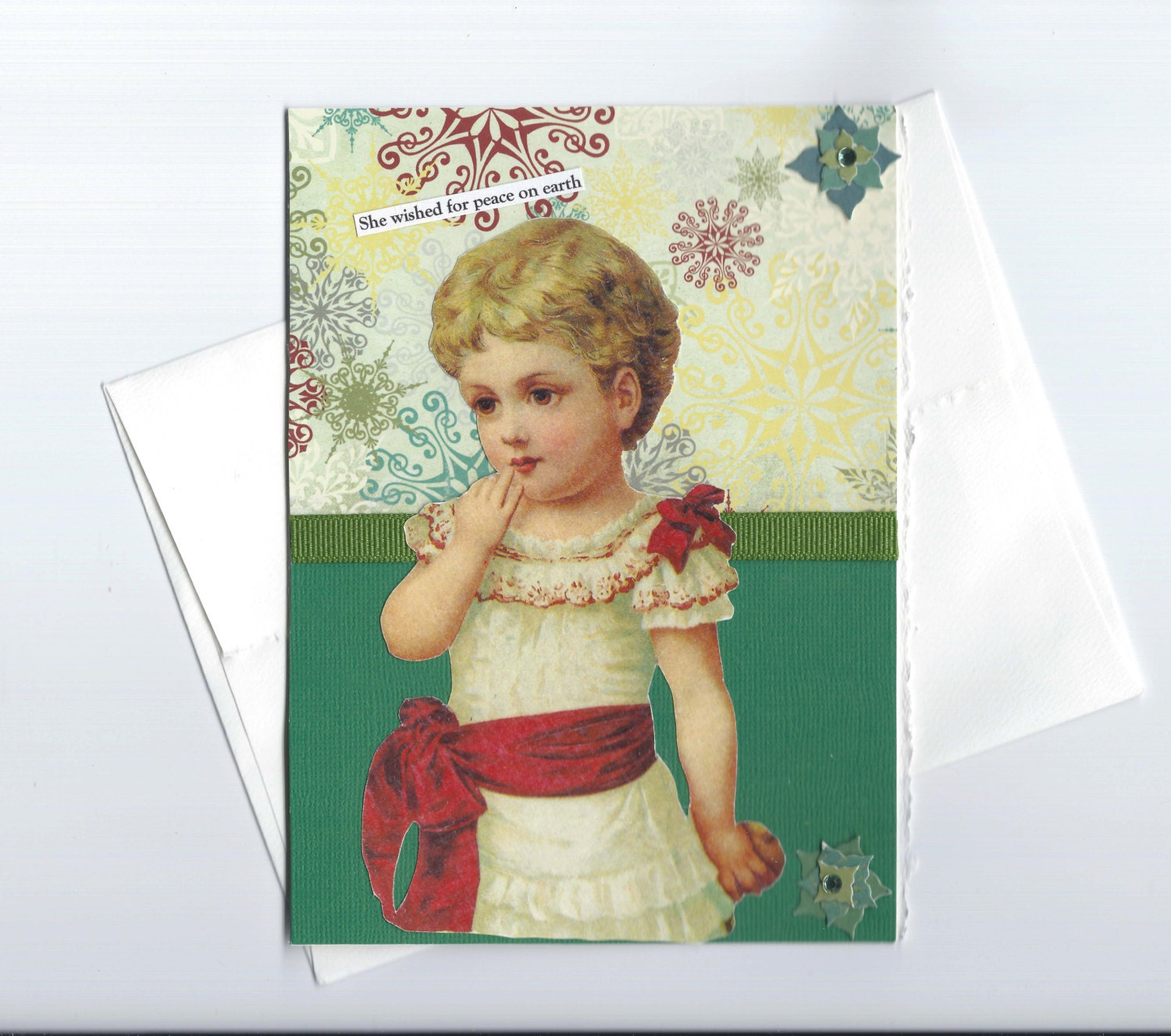 Thoughtful Christmas Card with Victorian Woman Mixed Media Art  -- What's Wrong With World Peace - rhodyart