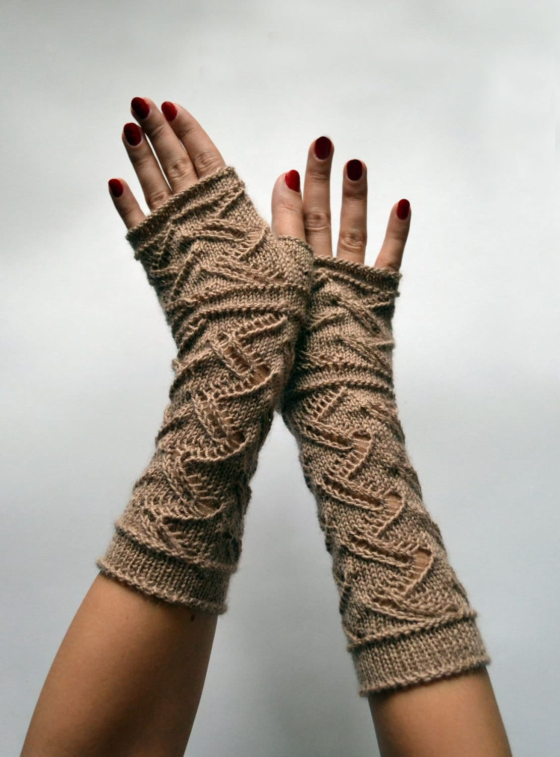 Long Lace Knit Fingerless Gloves Beige Lace by lyralyra on ...