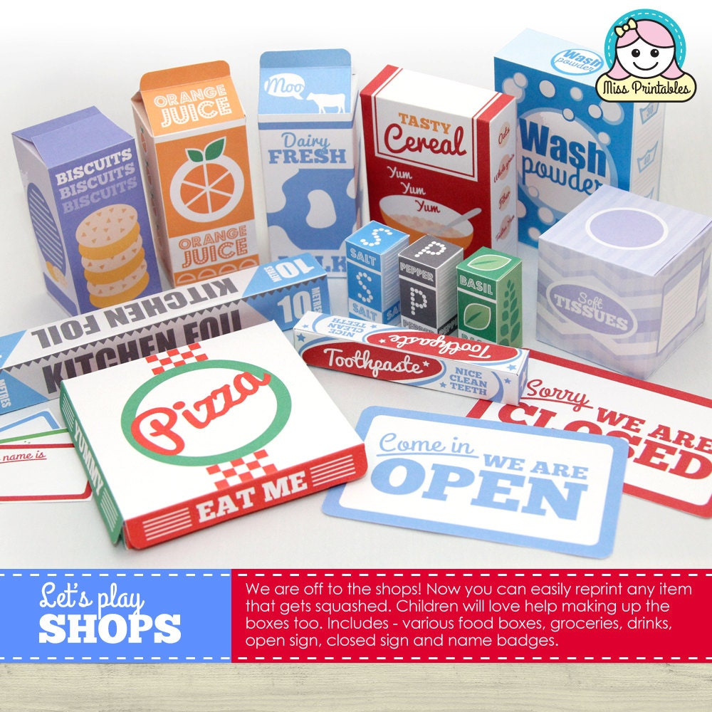 Printable templates for childrens pretend play BUNDLE. Food packaging Banks The Post Office and Travel sets.