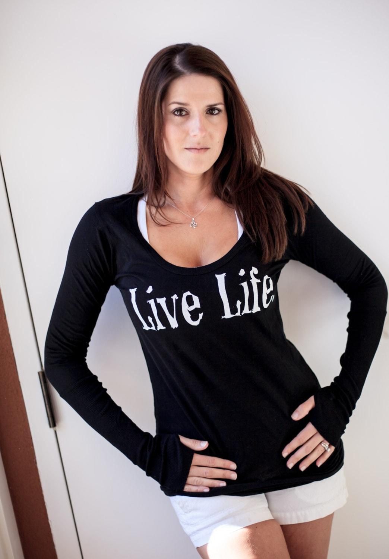Live Life Long Sleeve Thumb Hole Shirt Gym By Nutritionsnob