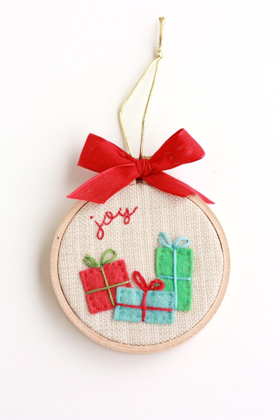 Items Similar To Gifts Bring Joy 3u0026quot; Hoop Art Christmas Ornament On Etsy