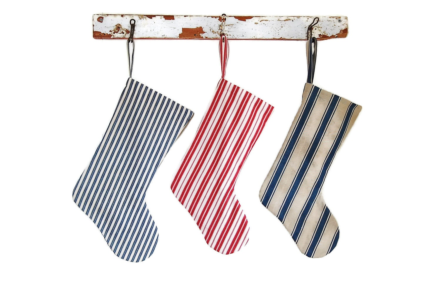 Christmas Stocking-Handmade Vintage Ticking -Small striped Blue And Tan Ticking Holiday Stocking - theprimitivehome