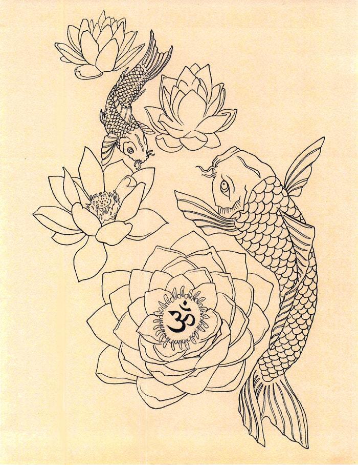 Japanese fish om lotus tattoo drawing art print by for Koi fish representation