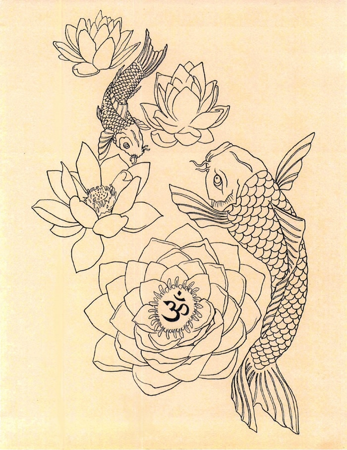 Japanese fish om lotus tattoo drawing art print by for Japanese koi fish drawing