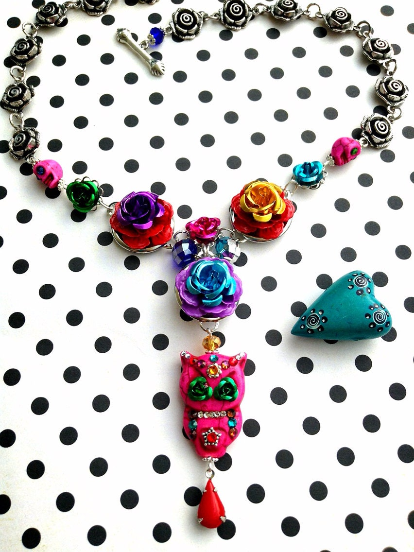 Rose Garden Sugar Skull Owl with Metal Roses with Swarovski Crystals Rhinestone Pin Up Girl Necklace