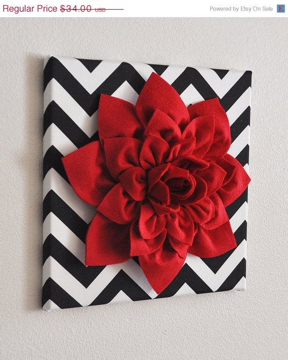 "BLACK FRIDAY SALE Red Wall Flower -Red Dahlia on Black and White Chevron 12 x12"" Canvas Wall Art- Baby Nursery Wall Decor- - bedbuggs"