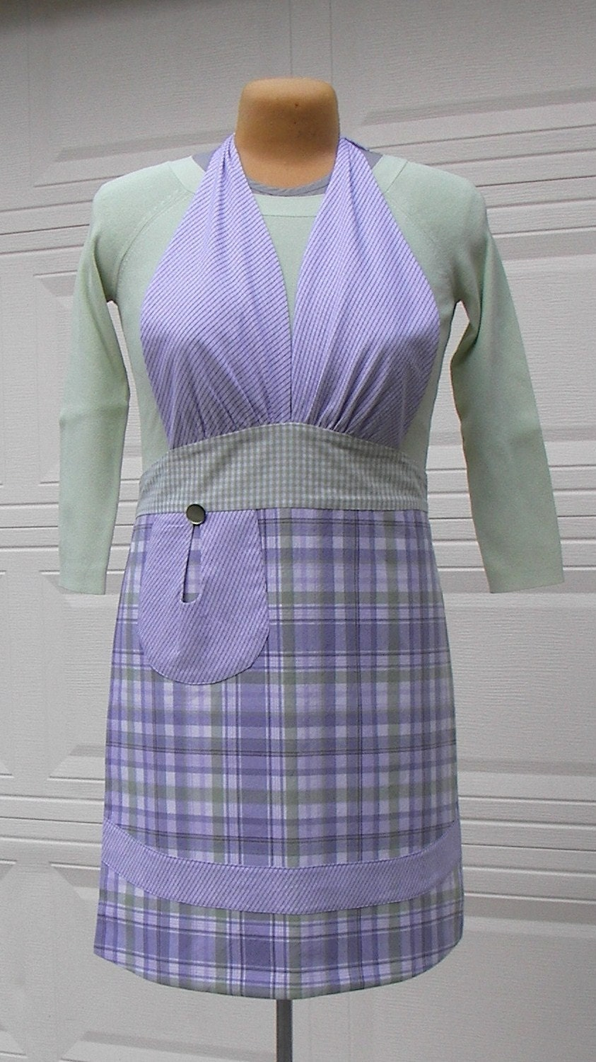 Apron - Full Apron - Lavender, Green, and White Plaid - OOAK - fancyfigleaf