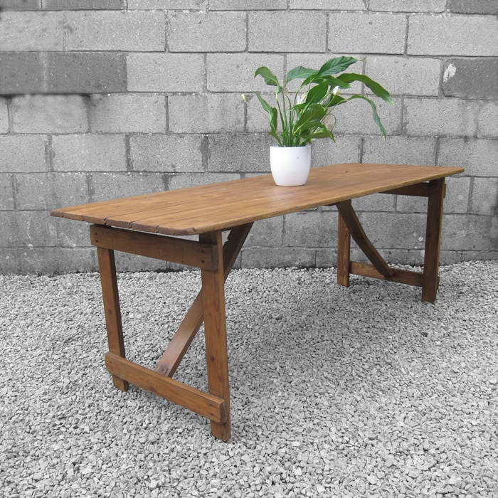 Vintage Folding Trestle Table Rustic 1940s Pine Old Garden Table