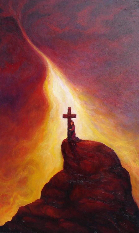 Original Oil Painting Cross Woman Kneelingsunset By