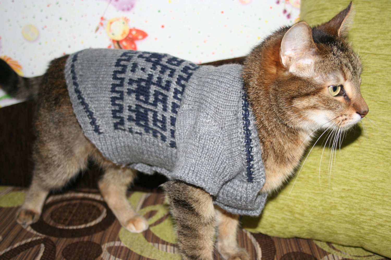 Knit cat dog sweater with jacquard pattern by anastasijagogina - Knitted cat sweater pattern ...
