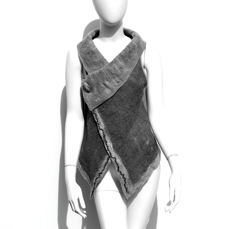 Grey Wool Nuno Felt Vest Australian Superfine Merino Reversable - juliaheartfelt